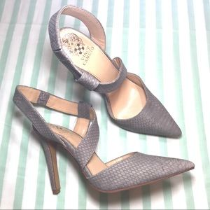 NEW Vince Camuto Gray Leather Snakeskin Print Heel